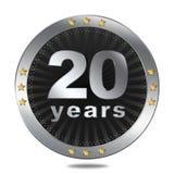 20 anni di distintivo di anniversario - colore d'argento Fotografia Stock Libera da Diritti