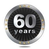 60 anni di distintivo di anniversario - colore d'argento Fotografia Stock
