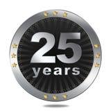 25 anni di distintivo di anniversario - colore d'argento Immagine Stock