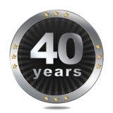 40 anni di distintivo di anniversario - colore d'argento Fotografia Stock