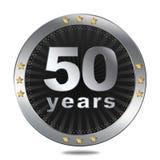 50 anni di distintivo di anniversario - colore d'argento Immagini Stock Libere da Diritti