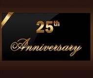 25 anni di etichetta dorata di venticinquesimo anniversario decorativo con il nastro - vector l'illustrazione illustrazione di stock