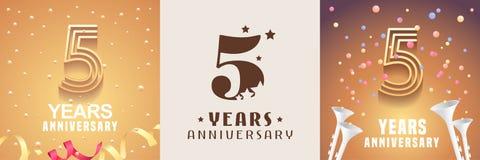 5 anni di insieme di anniversario dell'icona di vettore, simbolo Elemento di disegno grafico illustrazione di stock