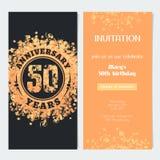 50 anni di invito di anniversario all'illustrazione di vettore di evento di celebrazione Immagini Stock Libere da Diritti