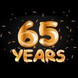 65 anni di logo dorato di anniversario Fotografia Stock Libera da Diritti