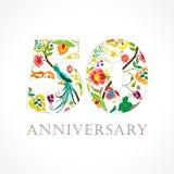 50 anni di logo piega di celebrazione lussuoso illustrazione vettoriale