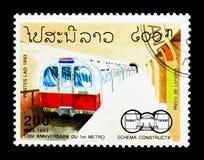 130 anni di metropolitana, serie delle ferrovie, circa 1993 Immagine Stock