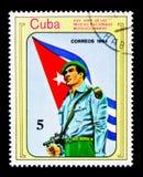 25 anni di milizia nazionale, serie delle bandiere, circa 1984 Fotografie Stock Libere da Diritti