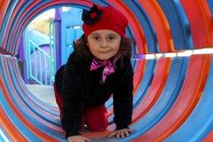 3 anni di neonata sullo scorrevole Fotografia Stock Libera da Diritti