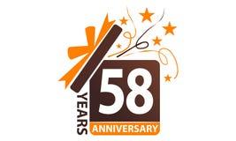 58 anni di regalo del contenitore di anniversario del nastro Immagini Stock Libere da Diritti