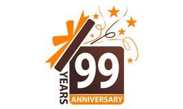 99 anni di regalo del contenitore di anniversario del nastro Fotografie Stock Libere da Diritti