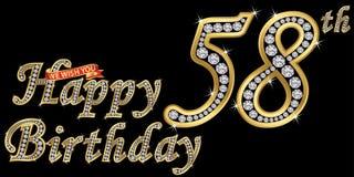 58 anni di segno dorato con i diamanti, illustrazione di buon compleanno di vettore illustrazione vettoriale