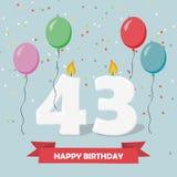 43 anni di selebration Cartolina d'auguri di buon compleanno illustrazione vettoriale