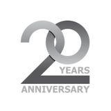 20 anni di simbolo di anniversario Fotografia Stock Libera da Diritti