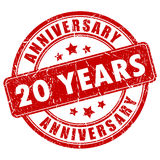 20 anni di timbro di gomma di anniversario Immagini Stock
