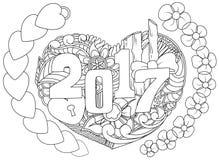 Anni disegnato a mano di scarabocchi i 2017 con gli oggetti di tema del nuovo anno e di simbolo formano il cuore illustrazione vettoriale