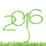 2016 anni fatti dal bello isolato fresco delle foglie verdi su briciolo Fotografia Stock Libera da Diritti