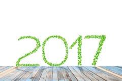 2017 anni fatti dalle foglie verdi con il pavimento di legno di prospettiva Fotografia Stock