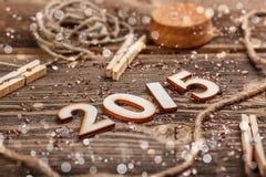 2015 anni fatti di legno Immagine Stock