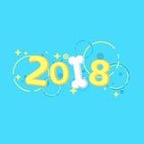 2018 anni L'anno del cane giallo della terra Belle figure del fumetto e un osso bianco come la neve per il calendario Picchiettio Fotografia Stock