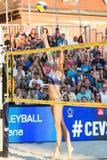 Anni Schumacher aus Deutschland, das versucht, einen lobbed Ball zu blockieren Lizenzfreie Stockfotos