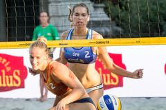 Anni Schumacher from Germany successful point. Ljubljana, Slovenia - JULY 22, 2017: Anni Schumacher from Germany successful point at the net against Beata Vaida Stock Photography