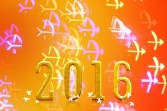 2016 anni sulla luce vaga del bokeh Immagini Stock Libere da Diritti