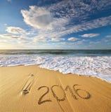 2015 anni sulla riva di mare Fotografie Stock Libere da Diritti