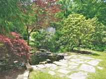 Annie Cannon Memorial Garden in Blowing Rock. Annie Cannon Garden is a passive creekside recreation area that includes a walking trail through the garden space stock photo
