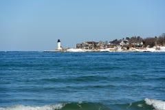 Annisquam港口灯塔,海角安,马萨诸塞 免版税图库摄影