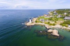 Annisquam Harbor Lighthouse, Cape Ann, Massachusetts. Annisquam Harbor Lighthouse aerial view, Gloucester, Cape Ann, Massachusetts, USA. This historic lighthouse stock photo
