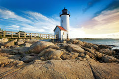 Annisquam lighthouse. Located near Gloucester, Massachusetts Stock Images