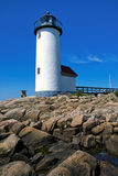 Annisquam Lighthouse Over Rocky Coastline Royalty Free Stock Photo