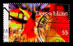 60. Anniv des Grundgesetzes und des 20. Jahrestages des Falles von Berlin Wall, serie, circa 2009 Lizenzfreie Stockfotos