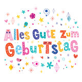 Anniversaire allemand de Geburtstag Allemand de zum d'Alles Gute joyeux Photo stock