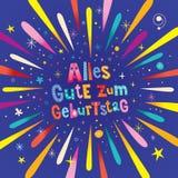 Anniversaire allemand de Geburtstag Allemand de zum d'Alles Gute joyeux Images libres de droits