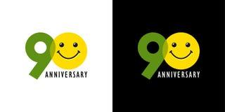 anniversaire 90 avec l'amusement et le sourire Photo stock