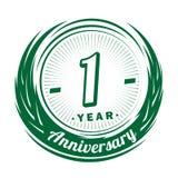 anniversaire de 1 an Conception élégante d'anniversaire 1er logo illustration stock