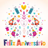 Anniversaire de Feliz Aniversario Brazilian Portuguese Happy Photo libre de droits