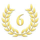 Anniversaire de guirlande de laurier 6ème sur un fond blanc illustration stock