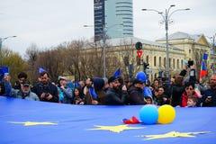 Anniversaire de jour d'Union européenne à Bucarest, Roumanie Image libre de droits