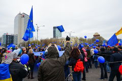 Anniversaire de jour de l'Europe à Bucarest, Roumanie Images libres de droits