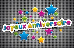 Anniversaire de Joyeux - feliz aniversario em francês Fotos de Stock