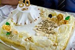 Anniversaire de mariage de gâteau doux ciquantième Image libre de droits