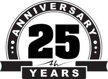 Anniversaire de vintage 25 ans d'emblème rond Rétro b dénommé illustration stock