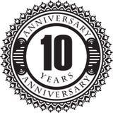 Anniversaire de vintage 10 ans d'emblème rond Rétro vecteur dénommé b illustration stock