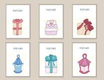 Anniversaire mignon, partie, cartes, brochures, invitations avec des cadeaux de boîtes et arcs de griffonnage, lumières Calibres  Image stock