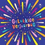 Anniversaire néerlandais de verjaardag de Gelukkige joyeux Image libre de droits