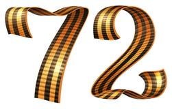 Anniversaire Victory Day du numéro 72 de forme de ruban de George Images libres de droits