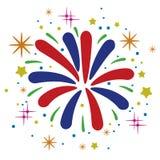Anniversario astratto che scoppia i fuochi d'artificio Fotografie Stock Libere da Diritti